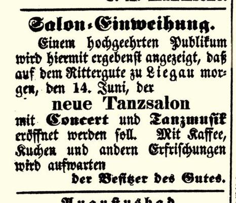 """Herrmanns Anzeige im """"Wochenblatt für Radeberg und Umgebung"""" vom 13.6.1846"""