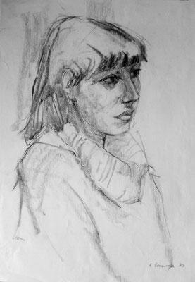 Herbert Hommola : Porträt Mädchen, 1980