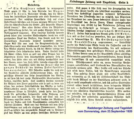 """Bericht der """"Radeberger Zeitung"""" vom 23. September 1920 über das Großfeuer in der Wagenfabrik Heuer."""