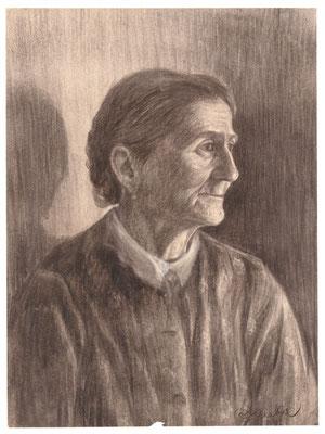 Karl Stanka: Porträt 2, Rötel. Vor 1914. Museum Schloss Klippenstein Radeberg