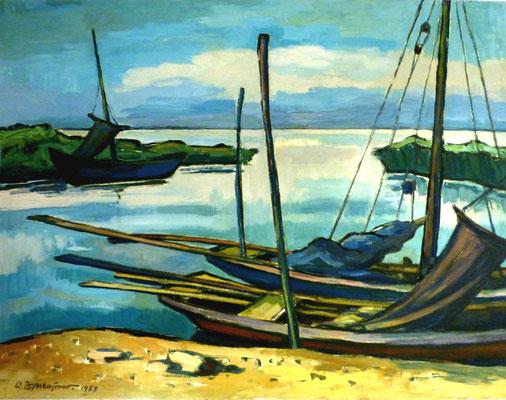 Rosso Majores: Boote am Strand, Öl, 1959, 65x50 cm