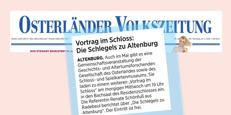 Osterländer Volkszeitung vom 24.Mai 2016