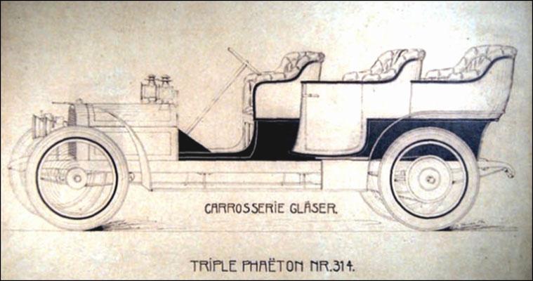 Triple Phaeton 1905 mit 3 Sitz-Reihen von Gläser-Karosserie. Quelle: Firmenschrift  150 Jahre KWD