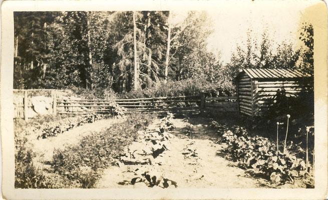 Der Garten mit den ersten einfachen Naturgas-Fackeln (rechts im Bild), um 1930