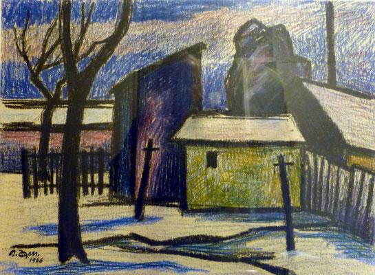 Rosso Majores: Gehöft, Kreide, 1966, 46x34 cm