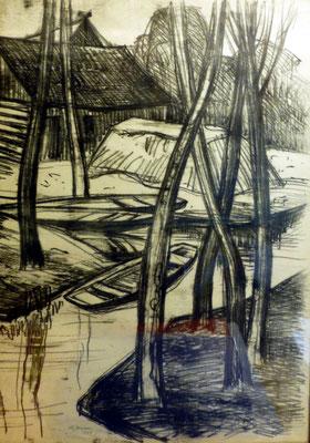Rosso Majores: Spreewaldhof, Kreide, 1967, 62x40 cm