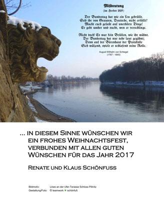 Weihnachten - Jahreswechsel 2016, Schloss Pillnitz, Löwenkopf - Gut gebrüllt, Löwe!. Foto: ©Renate Schönfuß-Krause