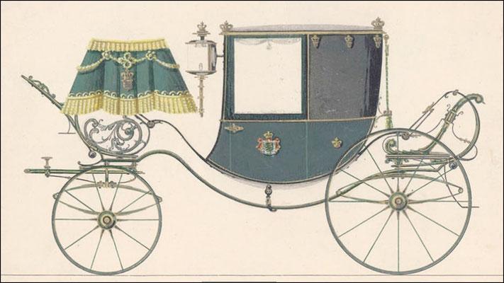 Kutschenbau Gläser - Heuer: Coupe Carre für das Königl. Oberstallamt, Quelle: Firmenschrift  150 Jahre KWD