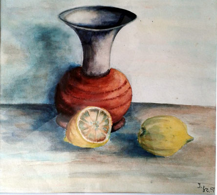 Stillleben, Aquarell, 1951