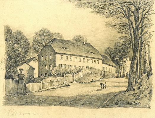 """Karl Stanka: Altes Schießhaus an der """"Chaussee nach Camenz"""". Bleistiftzeichnung 1936. Museum Schloss Klippenstein Radeberg"""