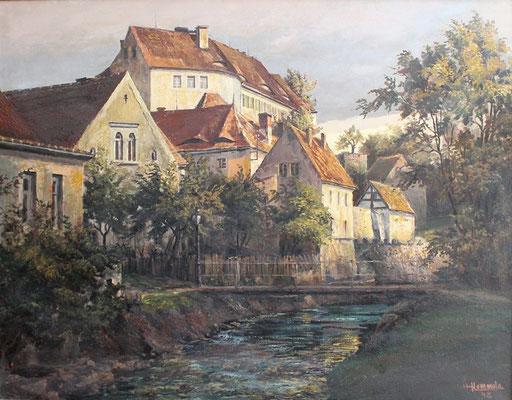 """Das """"Märchenschloss"""", Gemälde von Kunstmaler Herbert Hommola, 1948."""