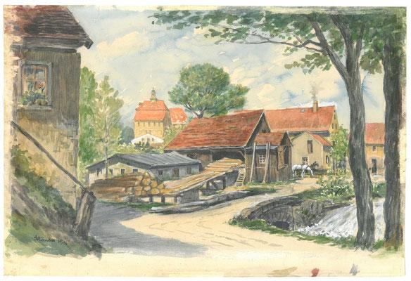 Karl Stanka: Mittelmühle Radeberg. Aquarell 1928. Museum Schloss Klippenstein Radeberg