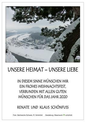 Weihnachten - Jahreswechsel 2019, Bastei-Blick nach Rathen - Lilienstein im Winter. Foto: ©Klaus Schönfuß