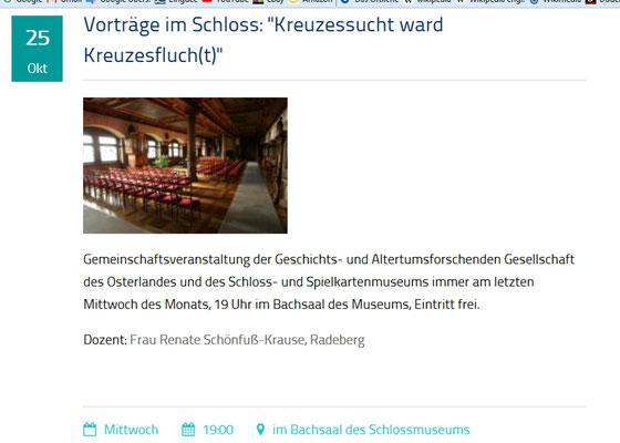 Ankündigung im Veranstaltungsplan Residenzschloss Altenburg