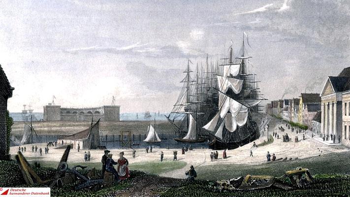 Der Bremer Hafen um 1840