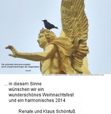 Weihnachten - Jahreswechsel 2013, Engel auf der Staatlichen Akademie der Künste Dresden - Gegensätze. Foto: ©Klaus Schönfuß