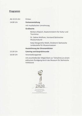 Museumspreis Sachsen 2020: Ablauf der Festveranstaltung am 28.9.2020
