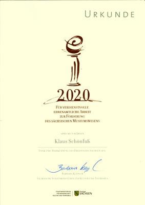 Museumspreis Sachsen 2020: Urkunde für Klaus Schönfuß