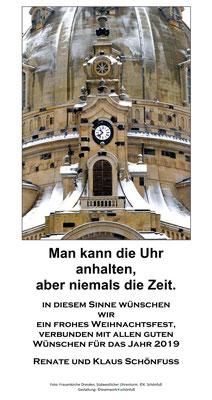 Weihnachten - Jahreswechsel 2018, Frauenkirche Dresden, Uhr. Foto: ©Klaus Schönfuß
