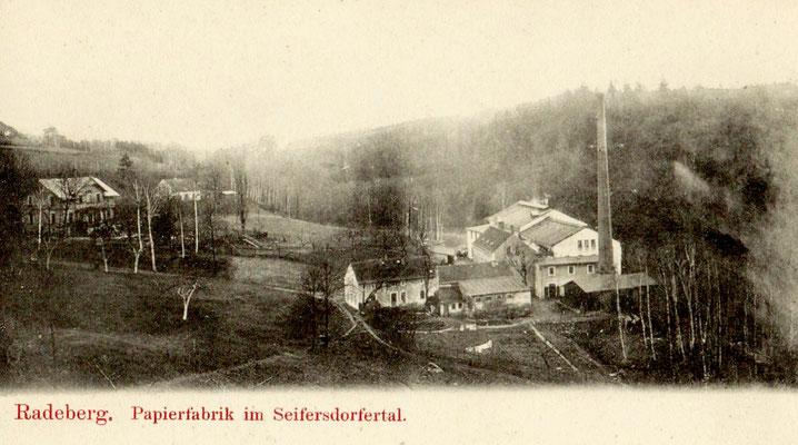 Niedermühle, Papierfabrik Seifersdorf, alte Ansichtskarte 2