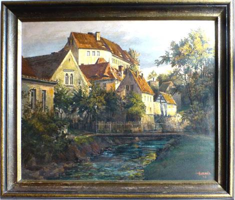 Herbert Hommola : Schloss Klippenstein Radeberg, Öl, 1948, ca. 80x70 cm; im Besitz Schloss Klippenstein Radeberg