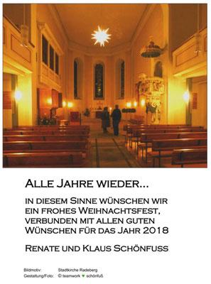 Weihnachten - Jahreswechsel 2017, Stadtkirche Radeberg innen. Foto: ©Klaus Schönfuß