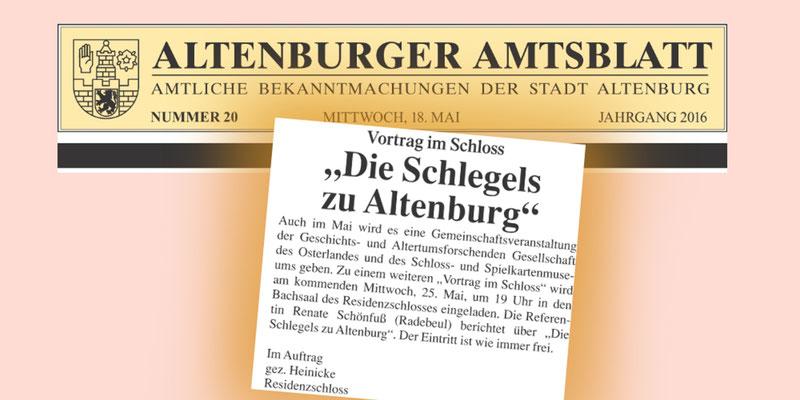 Altenburger Amtsblatt vom 18.Mai 2016