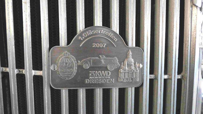 """Teilnahme-Plakette """"Gläser-Treffen"""" 2007"""