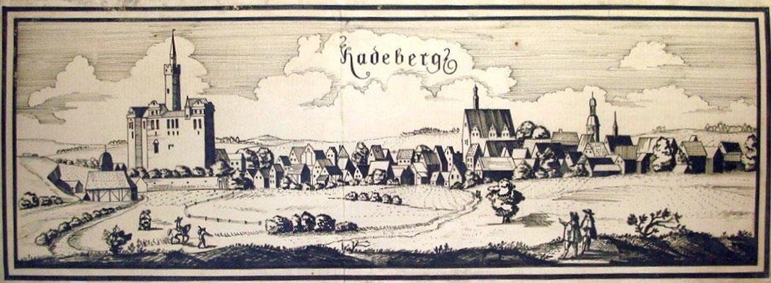 Radeberg Stadtansicht 1627 (frei nach Wilhelm Dilich 1627); Plakatfarbe auf Leinwand ca. 150x50 cm, Auftragswerk zur 750-Jahr-Feier der Stadt Radeberg 1969; Original im Archiv Museum Schloss Klippenstein Radeberg