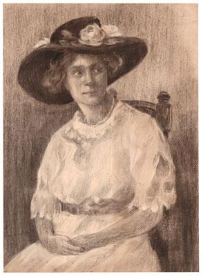 Karl Stanka: Porträt 3, Rötel. Vor 1914. Museum Schloss Klippenstein Radeberg