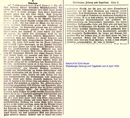 Nachruf für Emil Heuer. Radeberger Zeitung vom 6.4.1934