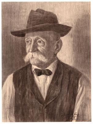 Karl Stanka: Porträt 4, Rötel. Vor 1914. Museum Schloss Klippenstein Radeberg