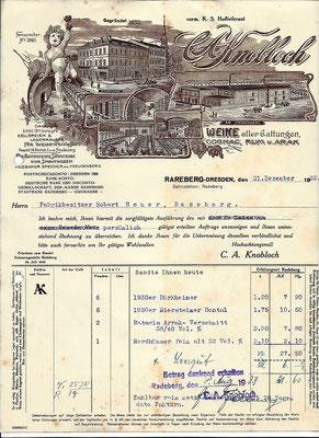 """Rechnung der Radeberger Weinhandlung C. A. Knobloch an """"Herrn Fabrikbesitzer Robert Heuer"""" von Silvester 1932. Quelle: Sammlg. Rieprich"""