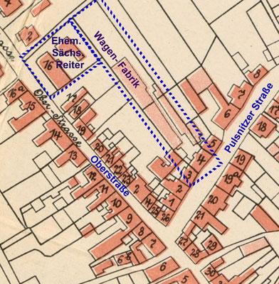 Werksgelände der Wagenfabrik im Stadtplan Radeberg 1905
