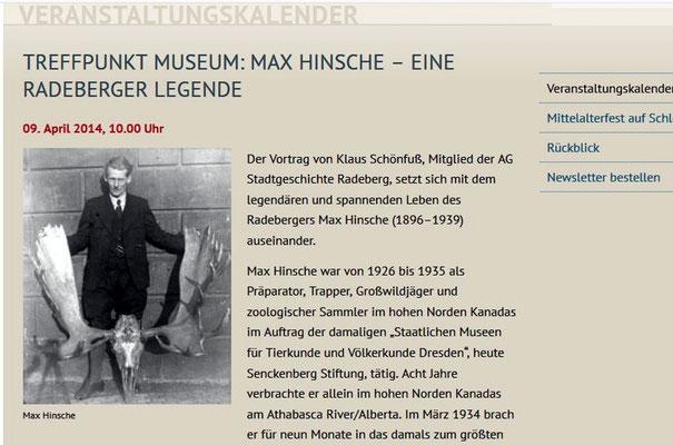 Treffpunkt Museum April 2014: Audiovisueller Vortrag von Klaus Schönfuß über Max Hinsche