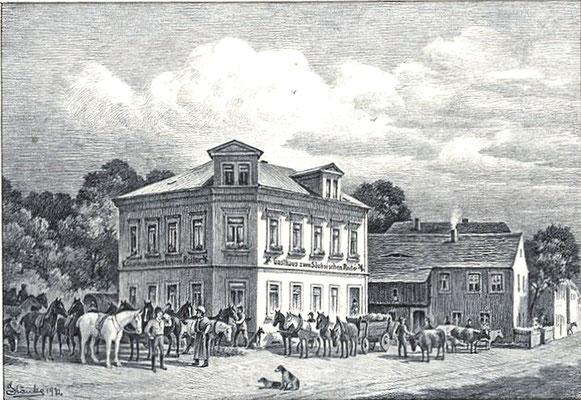 """Der ehem. Gasthof """"Sächsischer Reiter"""", Oberstraße 16 in Radeberg. Historische Zeichnung des Radeberger Malerchronisten Karl Stanka (1883–1947). Bereits vor 1905 ist das Gebäude erheblich vergrößert worden (nächstes Bild, siehe auch Stadtplan 1905)."""