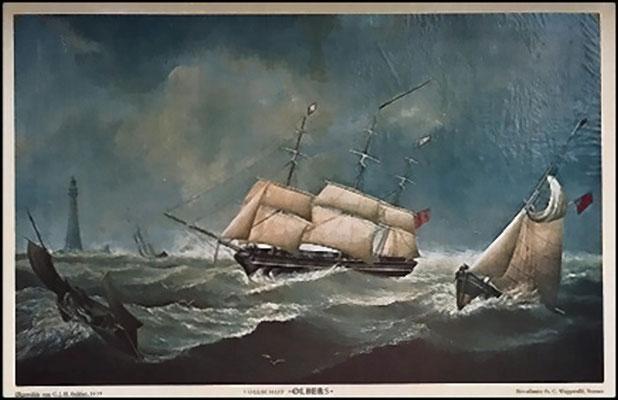 "Segelschiff ""Olbers"", auf dem Martin Stephan reiste"