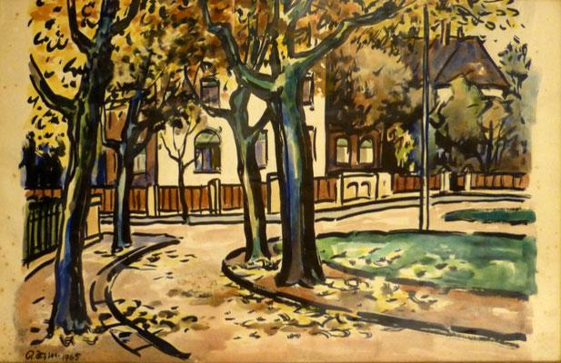 Rosso Majores: Käthe-Kollwitz-Platz, Aquarell, 1965, 63x41 cm