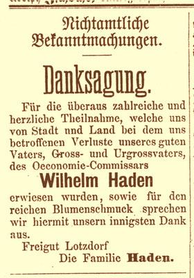 Haden, Wilhelm August Ernst, Danksagung nach der Beerdigung 1882