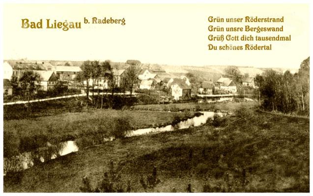 Liegau Rödertal Auwiesen, Postkarte von Bad Liegau