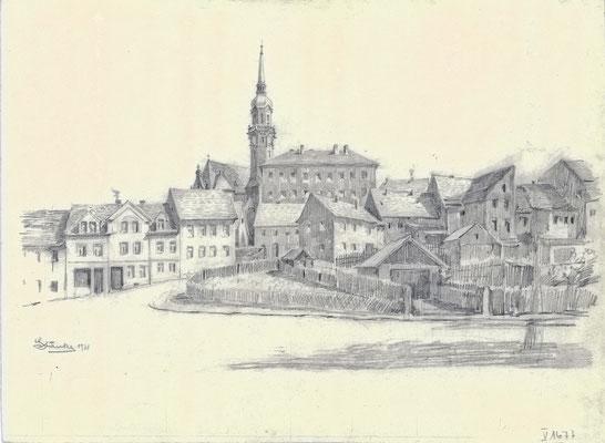 Karl Stanka: Stadtkirche, Alte Stadtschule, vom Niedergraben gesehen. Bleistiftzeichnung 1931. Museum Schloss Klippenstein Radeberg