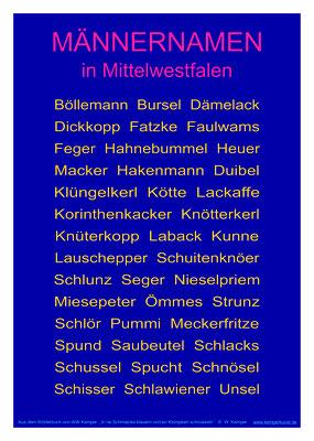 Männernamen in  Mittelwestfalen, Poster A3
