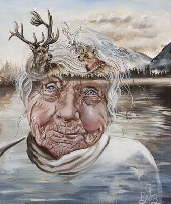 Mémoire d'ancien, peinture à l'huile sur toile - 46 x 56 cm -  Memories of a lifetime, oil painting on canvas, 18 x 22 in