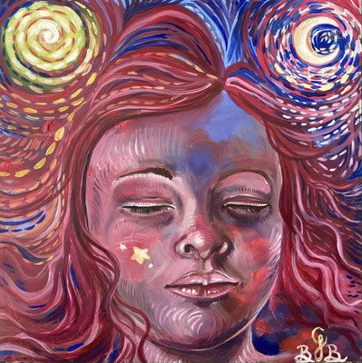 Sweet Dreams, peinture à l'huile sur toile - 32 x 32 cm - oil painting on canvas, 12,5 x 12,5 in