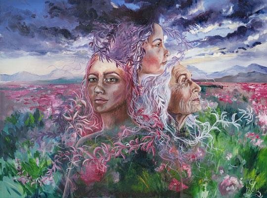 Cycle de vie, peinture à l'huile sur toile - 101 x 77 cm - Cycle of Life, oil painting on canvas, 40 x 30,2 in
