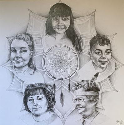 Composition d'après plusieurs photos. Crayons graphite sur papier 17 x 17 po - 43,18 x 43,18 cm - 2020