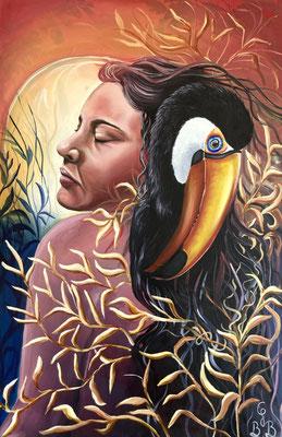 Les Naufragés, peinture à l'huile sur toile - 61 x 91,5 cm - The Survivors, oil painting on canvas, 24 x 36 in