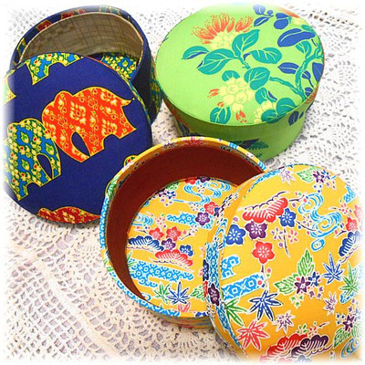Triple circle fabric boxes (Thailand, Hawaii, Okinawa-Japan)