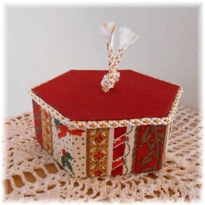 クリスマスの六角形カルトナージュ(小)クリスマスベル、赤バージョン_#244-01