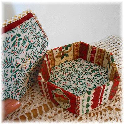 クリスマスの六角形カルトナージュ(小)クリスマスベル、赤バージョン_#244-03